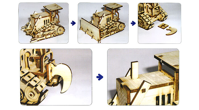 Wooden-Model-Heavy-Equipment-Kits-Junior-Series-Bulldozer