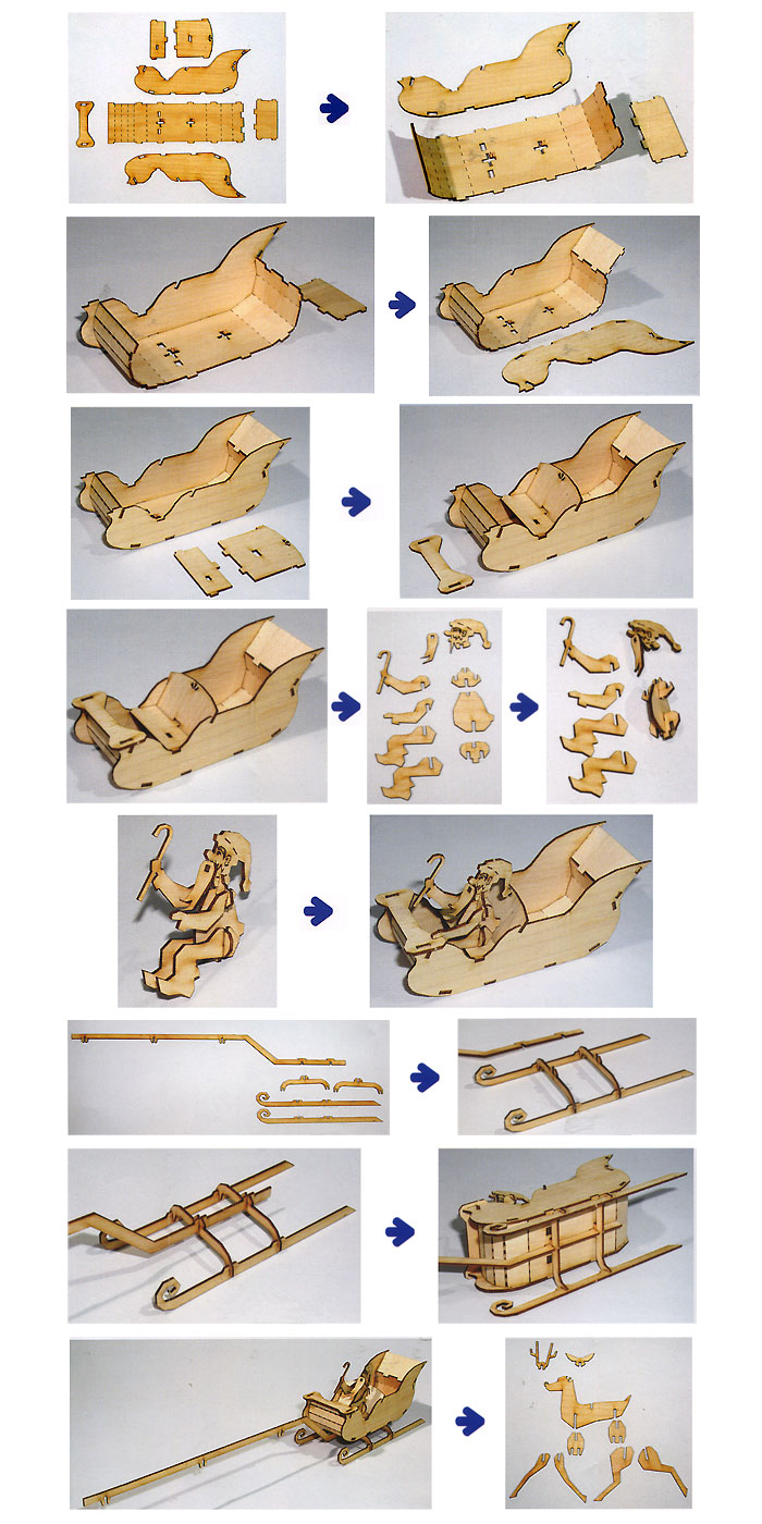 Wooden-Model-Transportaion-Kits-Junior-Series-Scale-models-Santa-Sledge